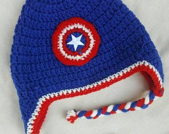 Captain America inspired crocheted hat