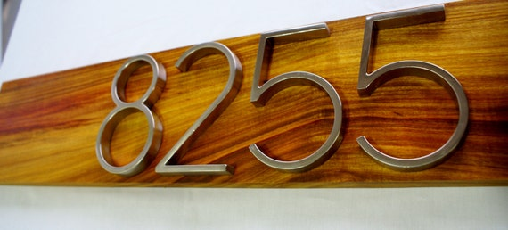 Modern Trade Mark Series Canary Wood Address Plaque- Custom- House Numbers Sign- Modern House Numbers- Address Sign