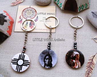 Native American Indian head Key Chain Oglala Lakota Crazy Horse Chief of the Tribe Sun Symbol