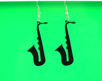 Jazz earrings, Saxophone earrings, Jazz
