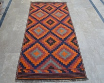 3'4 x 7'6 Feet, Stunning Old Handmade Vintage Afghan Qalaino Kilim Rug 4x6, kilim rug, kilim runner, area killim rug, kilim rug 8x10, carpet