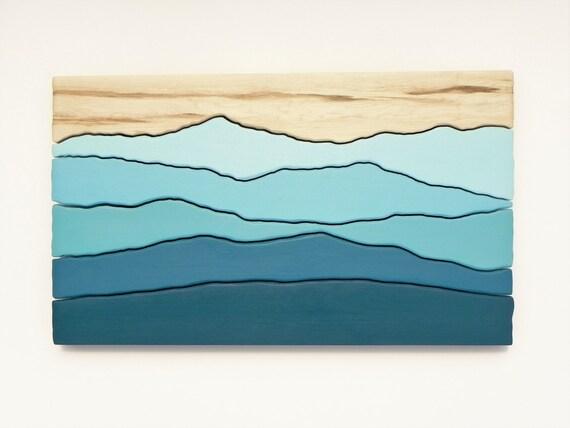 Mountain scene wood wall art /Maple, cherry, painted/