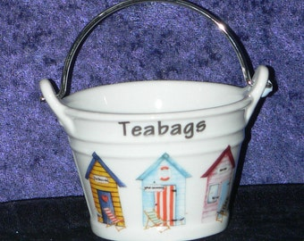 Beach Huts teabag tidy, bucket shaped -  porcelain bucket shaped teabag tidy