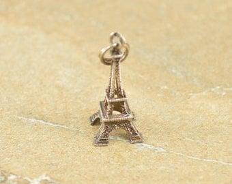 Vintage Style 3D Eiffel Tower Charm / Pendant Sterling Silver 1.2g Vintage Estate