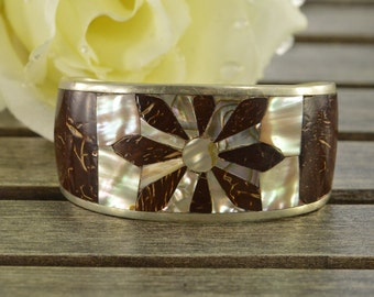 Coconut & Mother of Pearl Flower Inlay Cuff Bracelet Sterling Silver 37.5g Vintage Estate