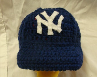 NY Yankees Hat - Made To Order / Any Size NB - 10 Years / Crochet Baseball Cap / Unisex / Boy / Girl / Gift Idea / Baby Shower / Sports Team
