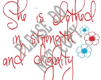 She is clothed in strength and dignity, SVG