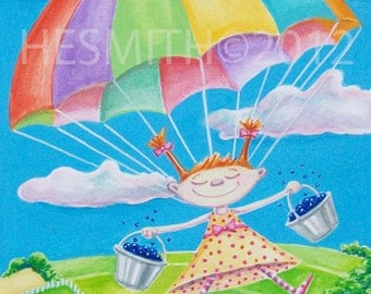 Blueberry Skies - Card for Children - Card for Sky Divers - Food Themed Card - All Occasion Card
