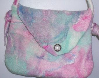 Pastel Handbag, Hand Felted, Bag, OOAK, Shoulder Bag, Merino Wool Top, Silk Hankies
