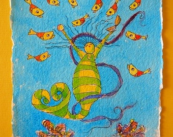 "Watercolor mermaid ""May Pearl 3"""