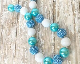 BubbleGum Bead Necklace - Girls Necklace - White and Blue Necklace - Big Bead Necklace  - Toddler Necklace - Kids Jewelry