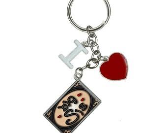 Big Sis Sister Love Hearts I Heart Love Keychain Key Ring