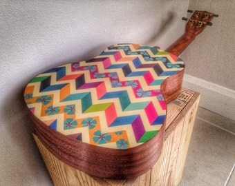 Ukulele decal of colourful chevron with flower design