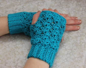 Cotton mittens, cotton fingerless gloves, spring and autumn cotton crochet mittens