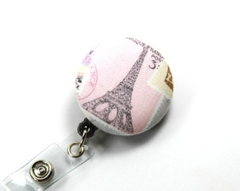 PARIS Badge Reel, Retractable Badge Reel, Paris Badge Holder, Paris Badge Reel, Stretchy Badge Reel