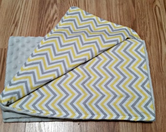 Free personalization, minky blanket, baby shower gift,  baby blanket, new mom, Chevron, Grey and Yellow, Gender neutral