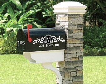 Fancy single initial frame decal for mailbox