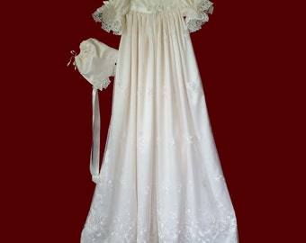 Ivory Iridescent Sparkle Embroidered Netting Girls Christening Gown