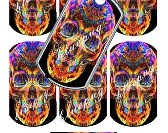 "7 Colorful Skulls Standard Dog Tag 1.1"" x 2"" Images Photo Quality 4x6 Sheet Digtal Download Printable Necklace Key Chain"