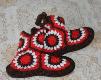 Red and White slippers for home/boots/socks/women