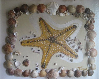 Starfish Painting, framed with Seashells/Beach Decor
