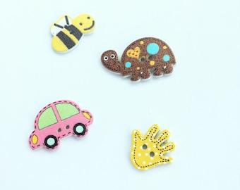 City Assorted Button Lot - Bee, Turtle, Car, Handprint Buttons - Wooden Buttons - Slug Bug Button - Bumblebee Button - Scrapbook Buttons