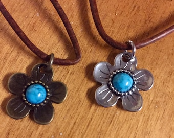 Turquoise flower charm necklace