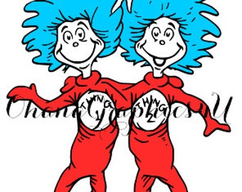 Dr. Seuss Thing 1 and Thing 2 SVG