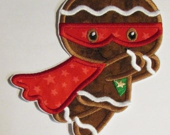 Ready To Ship in 3-5 Business Days - Gingerbread Super Hero - Iron On or Sew On Embroidered Applique