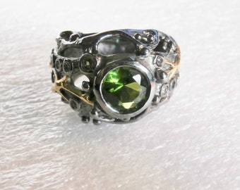 Green Sapphire Citrine 14kt Gold and Sterling Silver Organic Ring