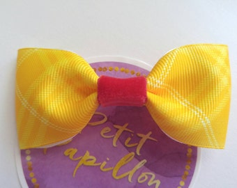 Yellow hair bow. French barrette hair bow. Yellow red hair clip. Toddler hair barrette