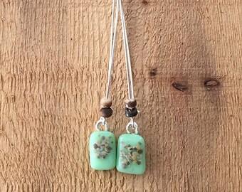 Mint/Seafoam Beaded Fused Glass Earrings