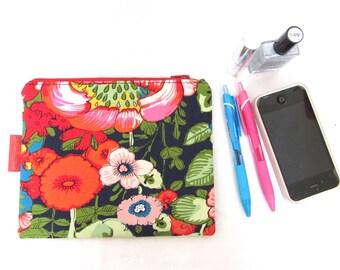 """Zipper pouch flowers woman, floral clutch bag, zipped floral purse, pink floral makeup bag, LesPetitsPoisZébrés,19x16cm (7""""x6,5"""")"""