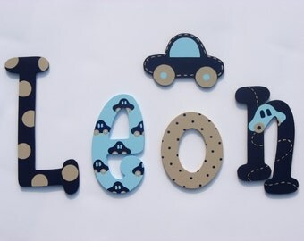 Hand painted colorful wooden letters; kids name; baby name; wall letters, letters of wood; kids room decoration; cars, seams, polka dots