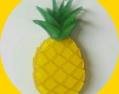 Tropical Pineapple Brooch, Vintage Inspired, Novelty brooch, Rockabilly, Pinup, Tiki Fruit, Jewelry, Acrylic, Resin, Plastic, Laser Cut, Pin