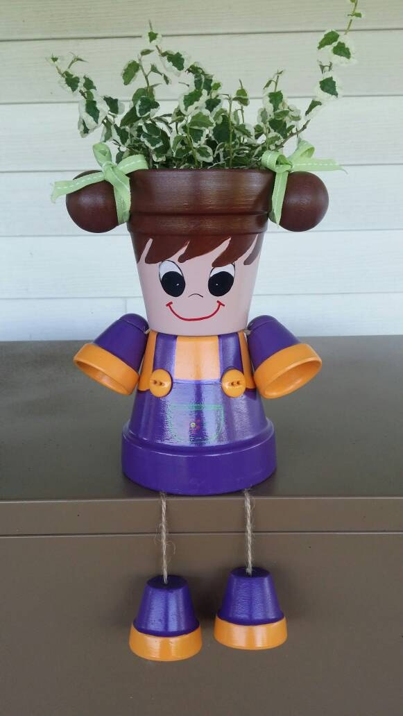 Little Girl Planter Pot Person With Pigtails Purple Orange