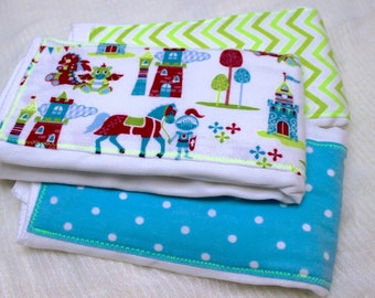 Baby Burp Cloths - set of 3; Green, Red and Blue; Knights and Dragons