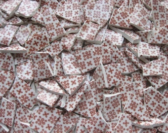 Mosaic Tile Pieces, Over 250 Pieces, Red and White Tiles, #261