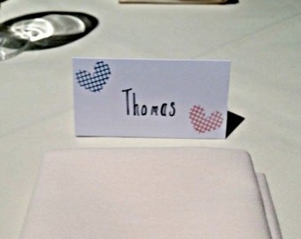 5/pack-Personalised Heart Place card