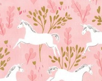 MICHAEL MILLER FABRIC Magic gold foil unicorn printed cotton