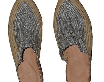 shoe silver raffia