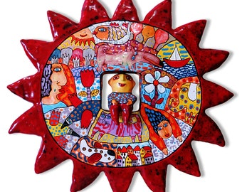 Sun wall panel, ceramic sun, ceramic star, star wall panel, ceramic panel, People in the sun, People on the star, star, sun, wall art