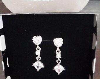 Sweethearts Dangling Cubic Zirconia Earrings