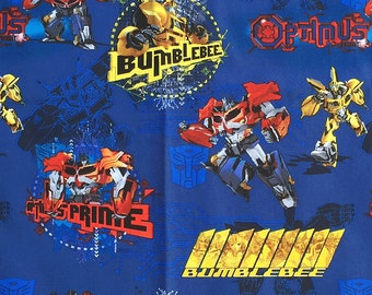 Transformer Fabric, Optimus Prime Cotton Fabric, Hasbro Transformer Fabric by the Yard