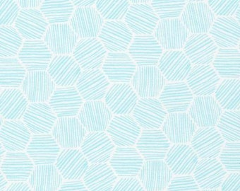 Hatchmarks Turquoise - Cloud9 Knits -  Cloud9 Fabrics - Organic Cotton Knit by the Yard