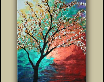 Original Tree Painting, Canvas Art, Acrylic Painting, Contemporary Painting, Absract Landscape, Made to Order