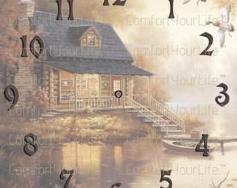 Printable Clock Face Cabin House River Digital Image Clock Instant Download