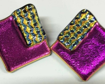 Fuchsia and Gold Earrings - fused glass
