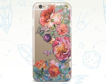 iPhone 6 Case Pink iphone 5 case flower iphone 6s case transparent iphone 6 clear case iphone 5s Rose clear iphone case Phone clear case