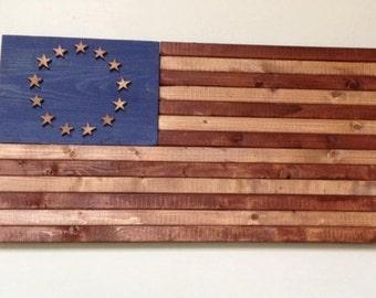 Vintage wood 13 star American flag